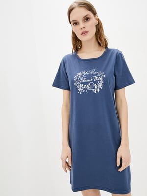 Рубашка ночная синяя в принт   5717770