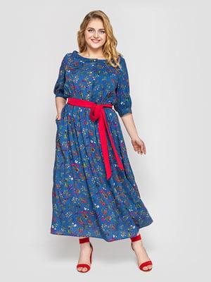 Платье синее в цветочный принт | 5717419
