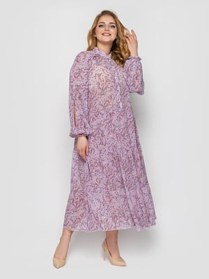 Платье сиреневого цвета в принт | 5717420