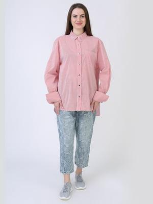 Рубашка розовая в полоску | 5714009