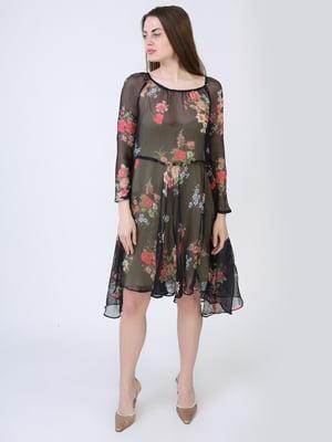 Платье чёрное в цветочный принт | 5714030