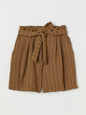 Шорти коричневого кольору в смужку | 5702653