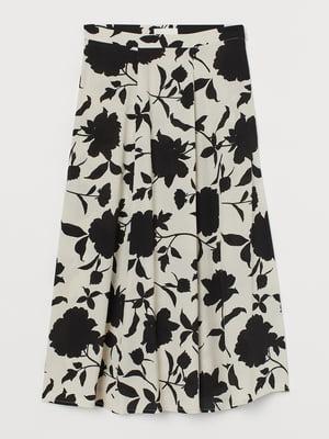 Спідниця бежевого кольору з квітковим принтом | 5702676