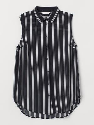 Рубашка-топ черная в полоску | 5702710