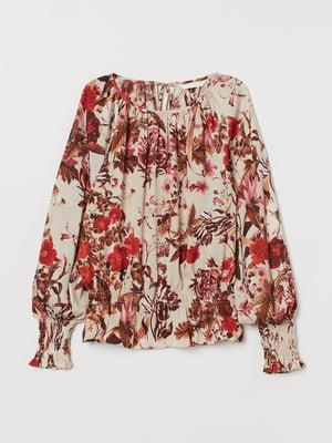 Блуза бежевого кольору з квітковим принтом | 5702734