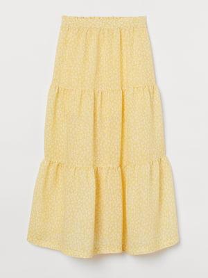 Спідниця жовта з квітковим принтом | 5702759
