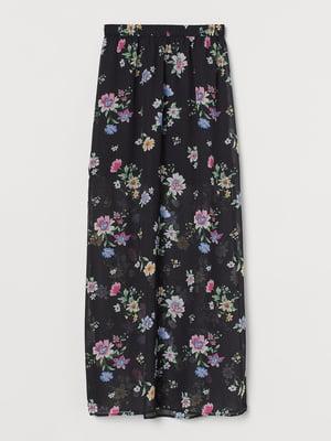 Спідниця чорна з квітковим принтом | 5702767