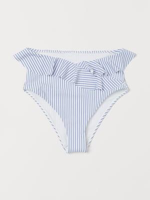 Трусы купальные голубого цвета в полоску | 5702996