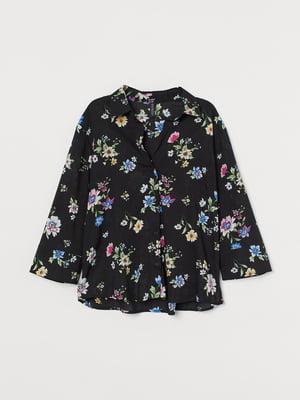 Рубашка черная с цветочным принтом | 5717054