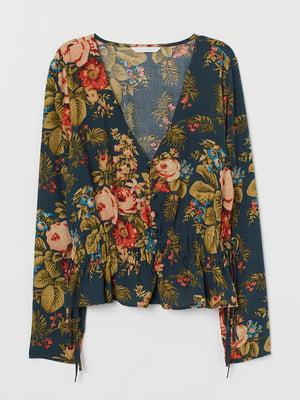 Блуза синя з квітковим принтом | 5717943