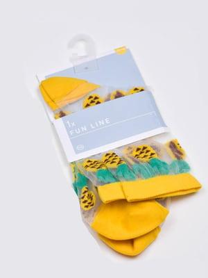 Носки капроновые желтые с принтом | 5717994
