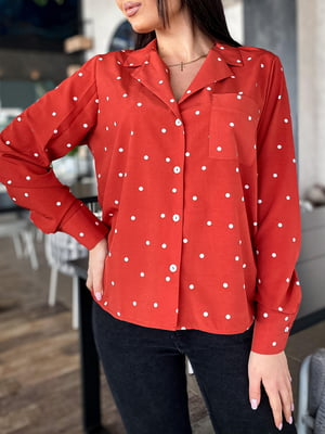 Рубашка терракотового цвета в горошек | 5719140