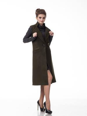 Пальто кольору хакі   5718182