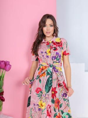 Сукня в смужку і квітковий принт   5719012