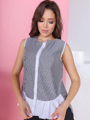 Блуза біло-сіра в смужку | 5719026
