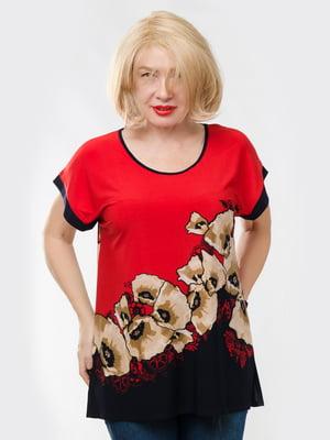 Блуза червона у квітковий принт | 5720251