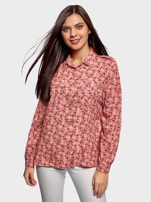Рубашка кораллового цвета в принт | 5720809