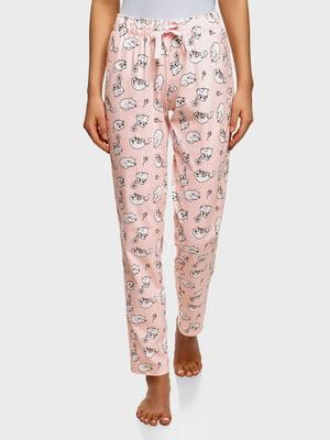 Штани рожеві в принт | 5721153