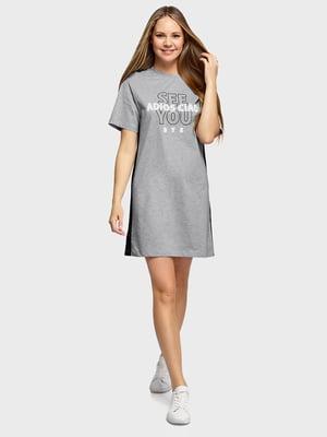 Платье серое с принтом | 5721212
