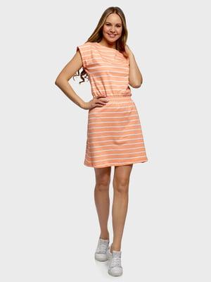 Платье кораллового цвета в полоску   5721377