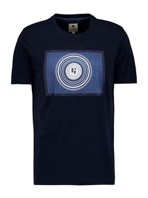 Футболка темно-синя з принтом | 5722036