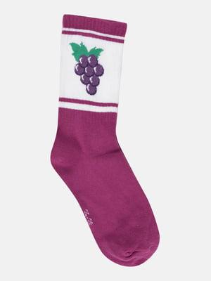 Шкарпетки фіолетові з принтом | 5721679