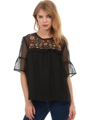 Блуза черная с цветочной вышивкой | 5726397