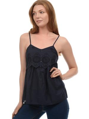 Блуза синяя с узором | 5726399