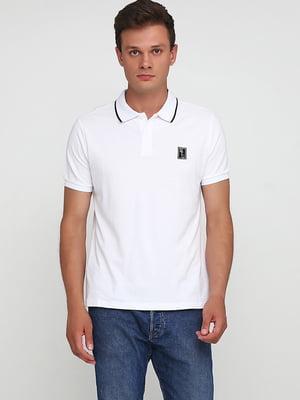 Футболка-поло белая с логотипом   5726512