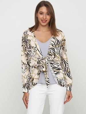Блуза бежевого цвета в принт | 5726550