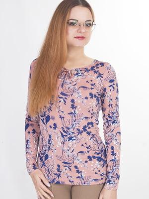 Блуза розового цвета в цветочный принт | 5726773