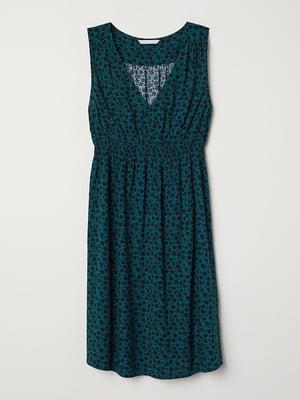 Сарафан для беременных зеленого цвета в принт | 5726933