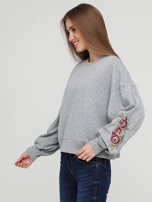 Свитшот серый с цветочным рисунком | 5727112