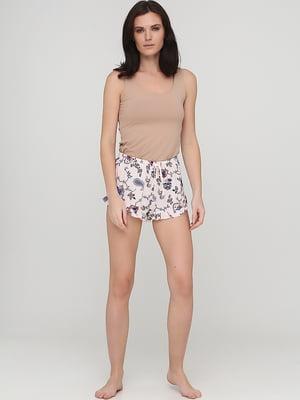 Шорти піжамні бежевого кольору в квітковий принт | 5727706