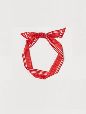 Хустка червоного кольору в смужку і цятку | 5727922