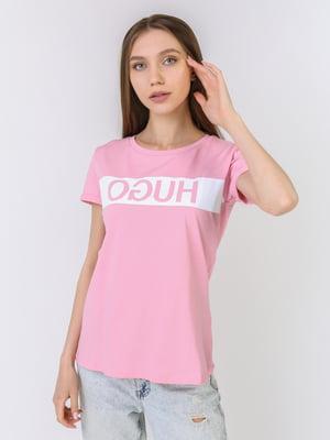 Футболка рожевого кольору з принтом | 5725405