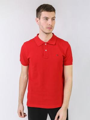 Футболка-поло красного цвета с логотипом | 5725435