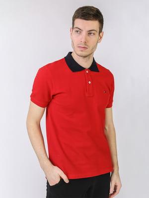 Футболка-поло красного цвета с логотипом   5725439