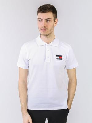 Футболка-поло белая с логотипом | 5725441
