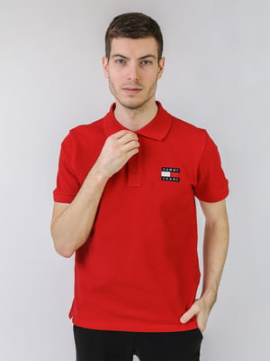 Футболка-поло красного цвета с логотипом | 5725443