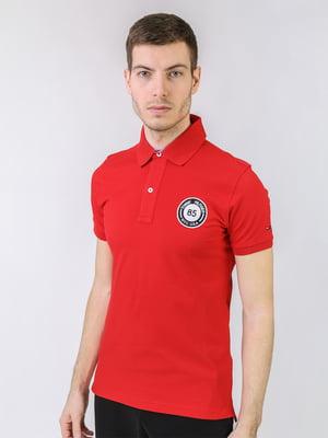 Футболка-поло червоного кольору з логотипом   5725452