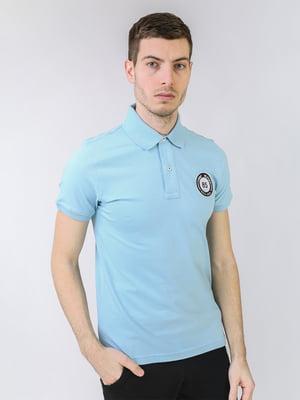 Футболка-поло небесного цвета с логотипом | 5725453