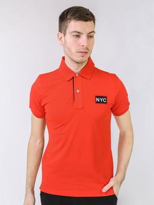 Футболка-поло морковного цвета с логотипом | 5725457