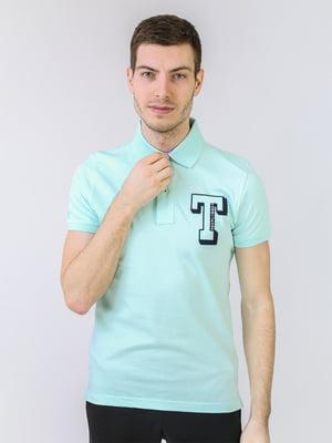 Футболка-поло м'ятного кольору з логотипом   5725461
