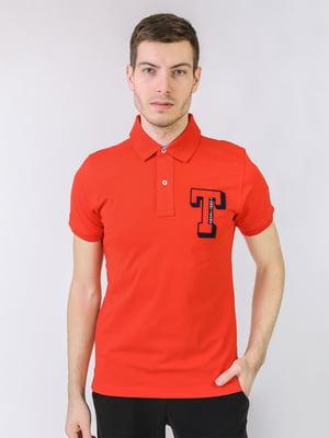 Футболка-поло морковного цвета с логотипом | 5725462