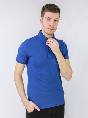 Футболка-поло синя з логотипом | 5725463