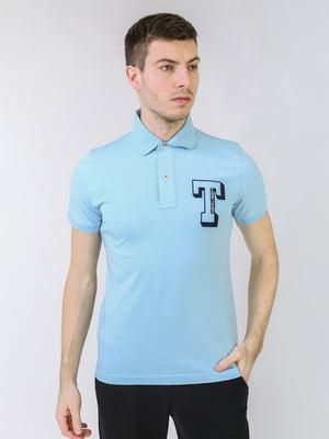 Футболка-поло небесного кольору з логотипом   5725465