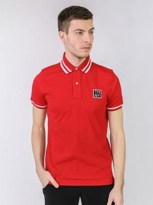 Футболка-поло красного цвета с логотипом | 5725468