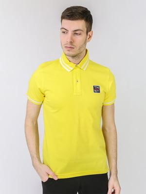 Футболка-поло желтая с логотипом | 5725469