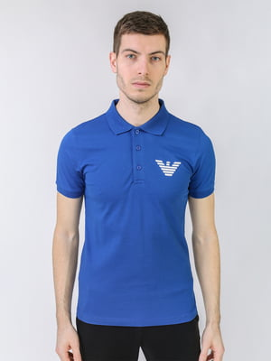 Футболка-поло синя з логотипом | 5725474